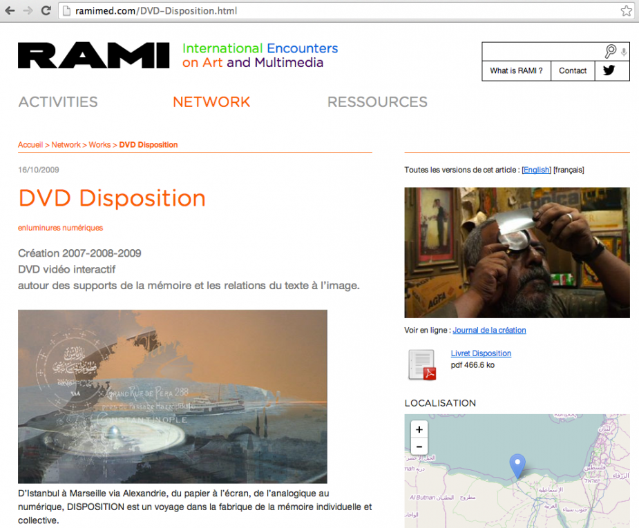 Article DISPOSITION sur le site RAMI
